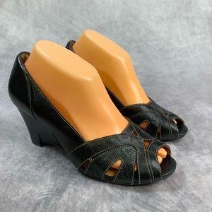 Clarks Artisan Black Leather Wedges